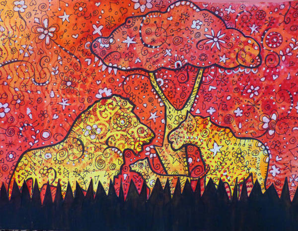Lion Mixed Media - Lion Family by Lynn Colwell