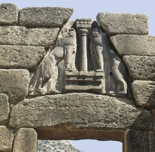 Morea Wall Art - Photograph - Lion Gate. S.xiv Bc. Greece. Mycenae by Everett