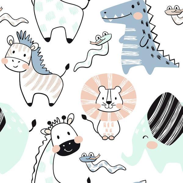 Digital Art - Lion, Giraffe, Elephant, Crocodile by Vasilyevalara