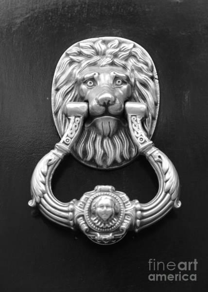 Photograph - Lion Head Door Knocker - Black And White by Carol Groenen