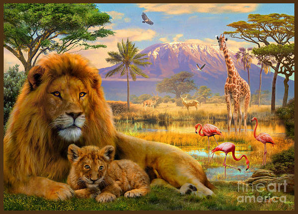 Big Cat Digital Art - Lion by MGL Meiklejohn Graphics Licensing