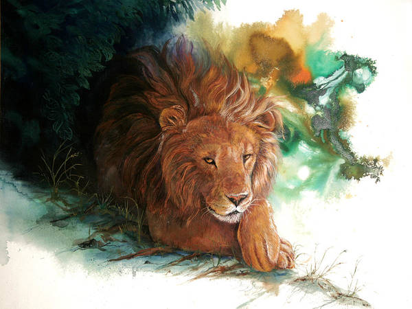Painting - Lion Nap Time by Sherry Shipley