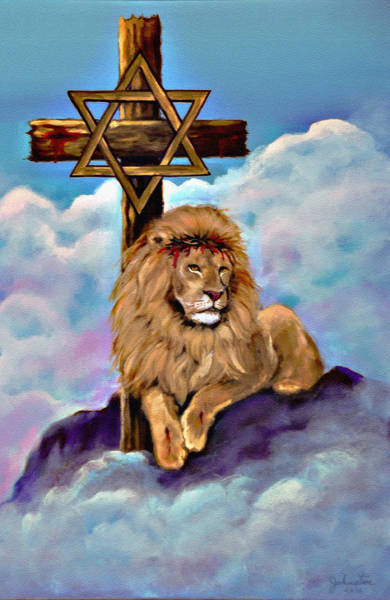 Wall Art - Painting - Lion Of Judah At The Cross by Bob and Nadine Johnston