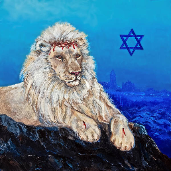Scriptural Painting - Lion Of Judah Before Jeruselum by Bob and Nadine Johnston