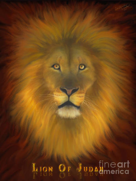 Wall Art - Painting - Lion Of Judah Fire In His Eyes 2 by Constance Woods