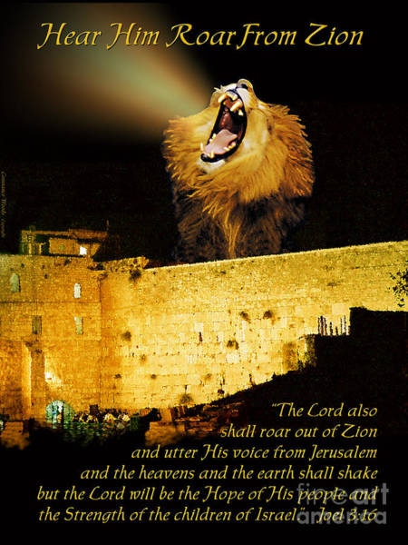 Wall Art - Painting - Lion Of Judah Roar From Zion by Constance Woods