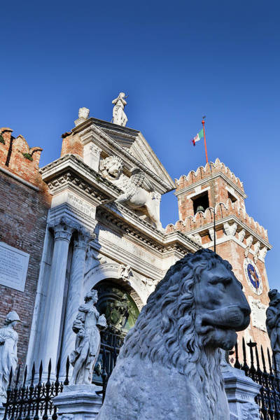 Stone Carving Photograph - Lion Statue In Front Of Arsenal, Venice by Darrell Gulin