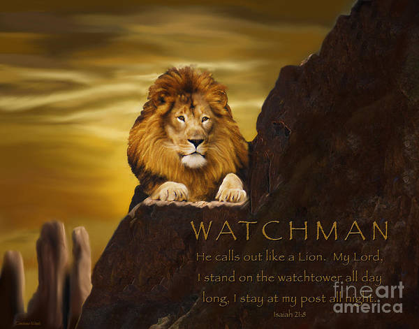 Majestic Digital Art - Lion Watchman by Constance Woods