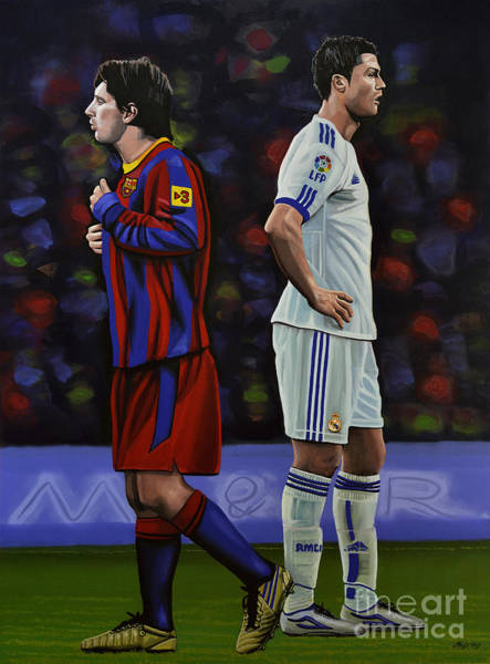 Acrylic Wall Art - Painting - Lionel Messi And Cristiano Ronaldo by Paul Meijering