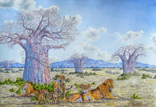 Painting - Lions By The Baobab by Joseph Thiongo