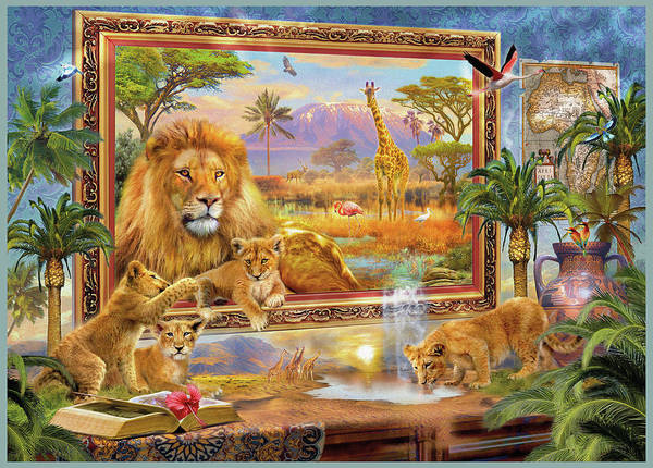 Tropical Drawing - Lions Coming To Life by MGL Meiklejohn Graphics Licensing