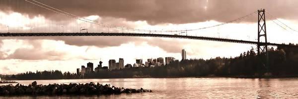 Vancouver Skyline Digital Art - Lions Gate Bridge Panorama by Patricia Keith