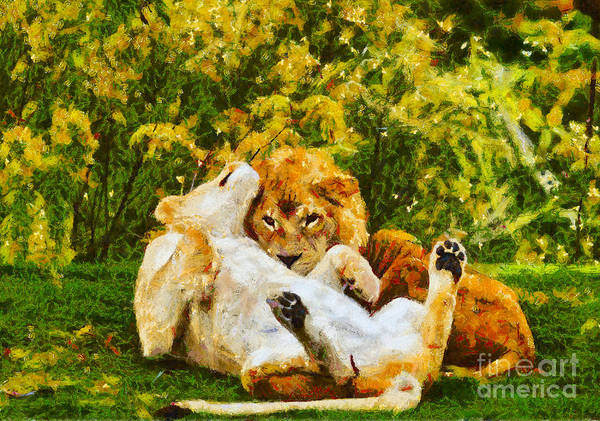Photograph - Lions In Love - Painterly by Les Palenik