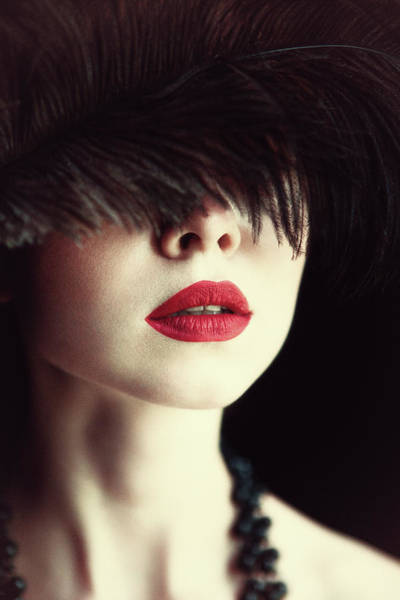 Sensuality Wall Art - Photograph - Lips And Feather by Magdalena Russocka