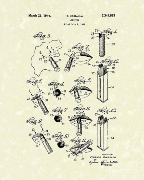 Drawing - Lipstick 1944 Patent Art by Prior Art Design