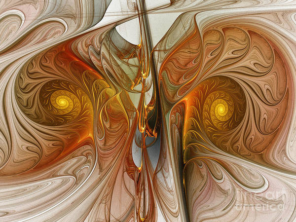 Fractal Landscape Digital Art - Liquid Crystal Spirals by Karin Kuhlmann