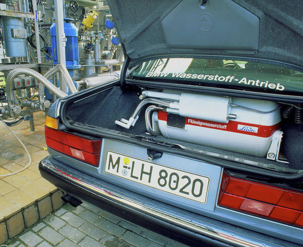 Filling Photograph - Liquid Hydrogen Fuel Tank In Boot Of Test Car by Martin Bond/science Photo Library