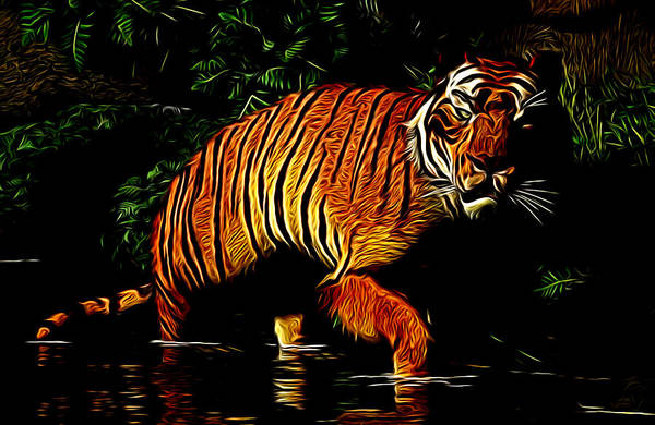 Digital Art - Liquid Tiger by Daniel Eskridge