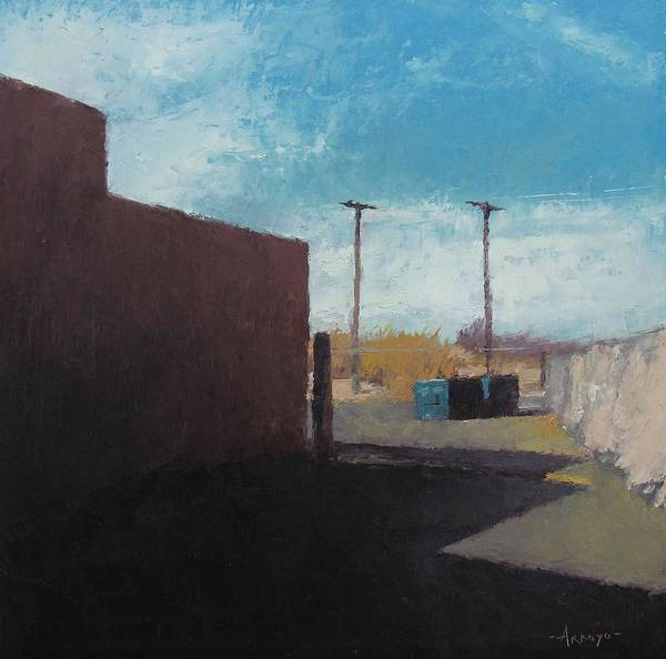 Utility Poles Painting - Liquor Store Alleyway by Oscar Arroyo