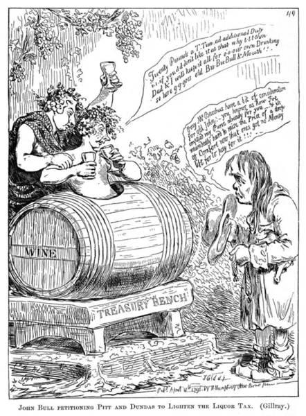 Political Cartoon Painting - Liquor Tax Cartoon, 1796 by Granger