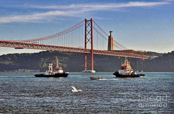 Photograph - Lisbon - Portugal - Vinte E Cinco De Abril Bridge And Tagus River-rio Tejo by Carlos Alkmin