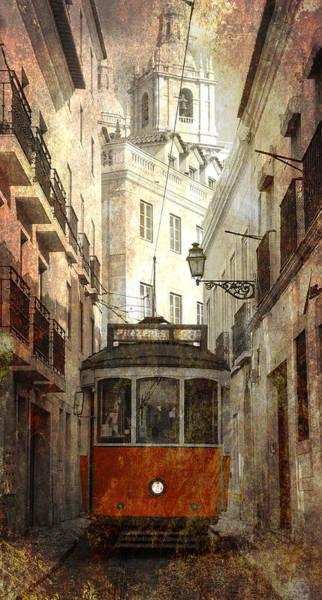 Lisbon Digital Art - Lisbon Streetcar by Daniel Hagerman