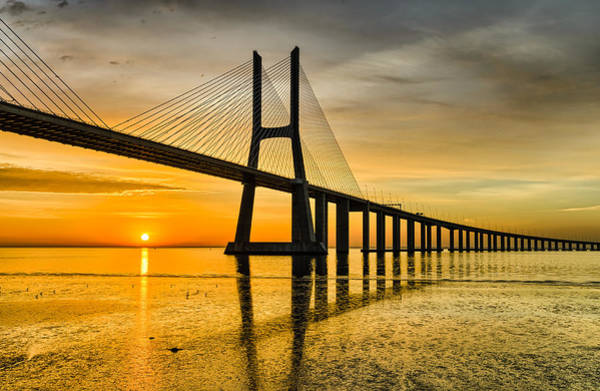 Vasco Da Gama Bridge Wall Art - Photograph - Lisbon Sunrise by Michael Abid