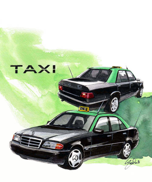 Taxi Painting - Lisbon Taxi by Yoshiharu Miyakawa