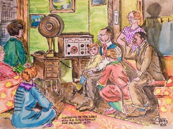 Listening To The Radio Art Print