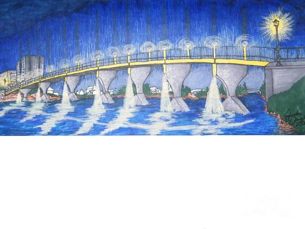 Drawing - Lit Bridge by Ronda Douglas
