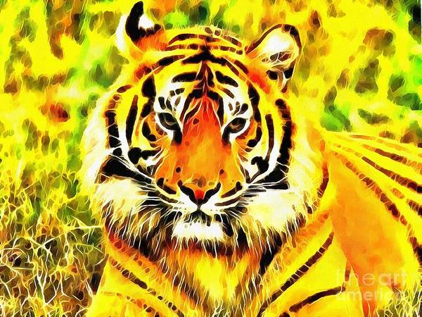 Painting - Lit Tiger In The Grass by Catherine Lott