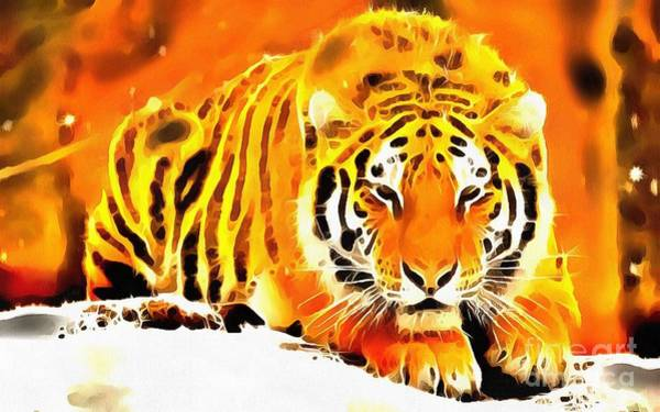 Painting - Lit Tiger In The Snow by Catherine Lott