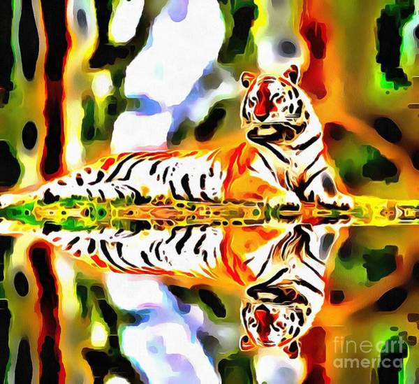 Painting - Lit Tiger Reflected by Catherine Lott