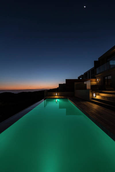 Chalet Photograph - Lit Up In Ground Pool In Luxury Villa by Mseidelch