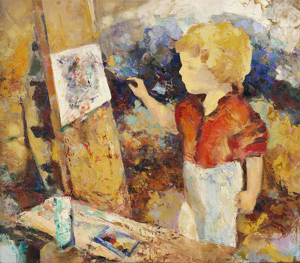 Wall Art - Painting - Little Art Painter  by Terezia Sedlakova