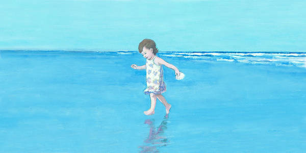 Painting - Little Beach Girl Panorama by J Reifsnyder