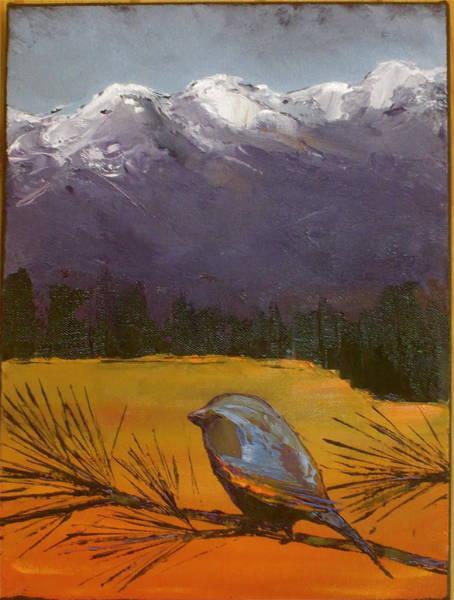 Pine Needles Painting - Little Bird #12 by Carolyn Doe