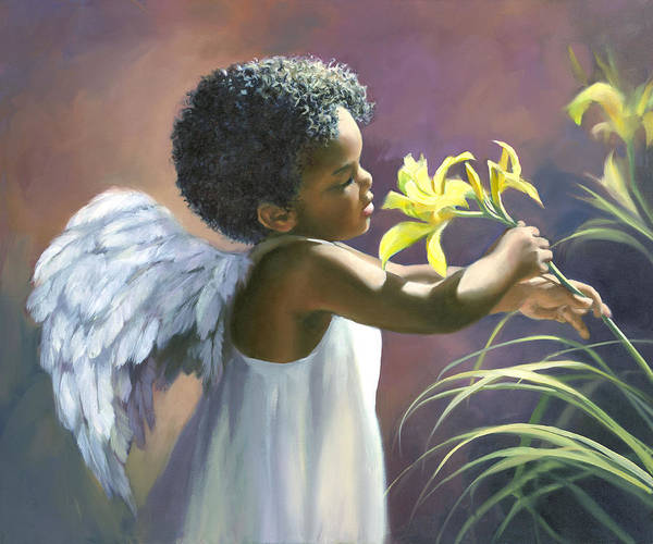 Infant Painting - Little Black Angel by Laurie Snow Hein