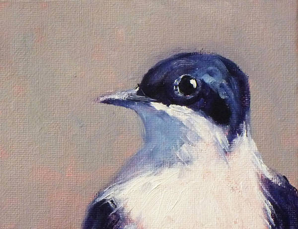 White Feathers Painting - Little Blue And White by Nancy Merkle