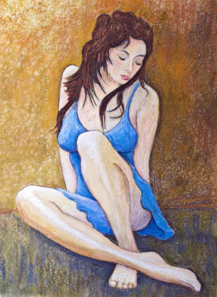 Wall Art - Painting - Little Blue Dress by Don Perino