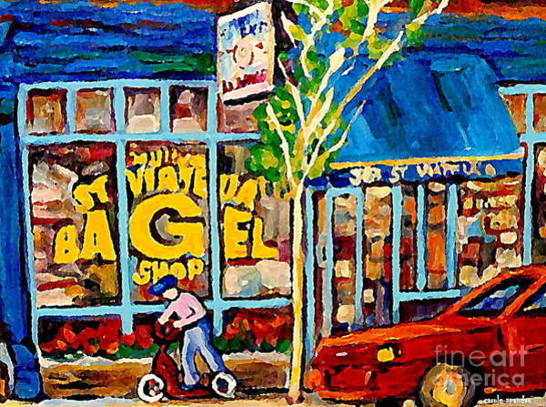 Painting - Little Blue Scooter Boy St. Viateur Bagel Shop Classic Montreal Street Scene Paintings Original Art  by Carole Spandau