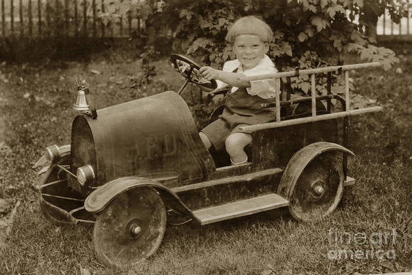 Photograph - Little Boy In Toy Fire Engine Circa 1920 by California Views Archives Mr Pat Hathaway Archives