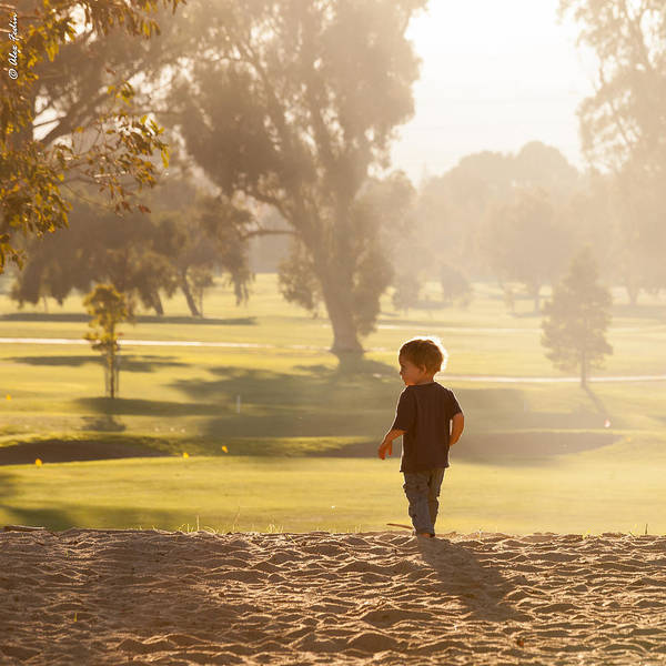 Photograph - Little Boy Playing In Coyote Point Park by Alexander Fedin