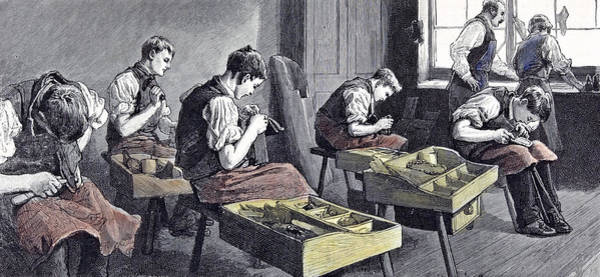 Schooling Drawing - Little Boys Home At Farningham Britain 1891 The Shoemakers by English School