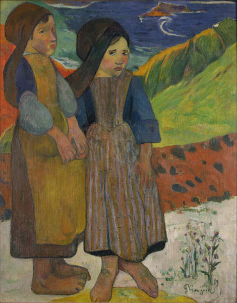 Impressionist Photograph - Little Breton Girls By The Sea, 1889 Oil On Canvas by Paul Gauguin