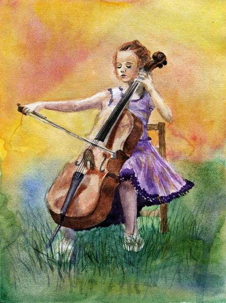 Cellist Painting - Little Cellist by Anna Shell