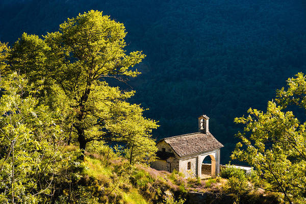 Photograph - Little Chapel In Ticino With Beautiful Green Trees by Matthias Hauser