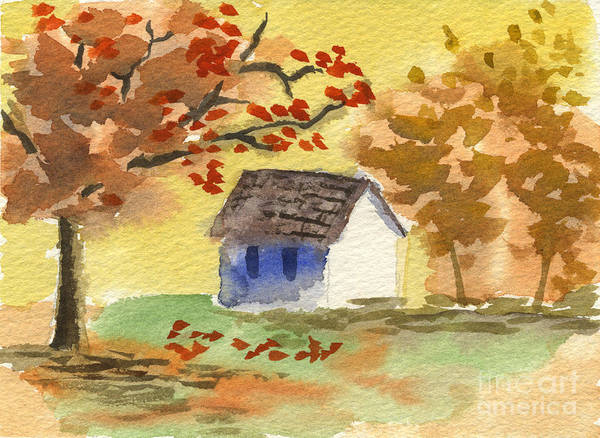 Painting - Little Cottage In Autumn by Beverly Claire Kaiya