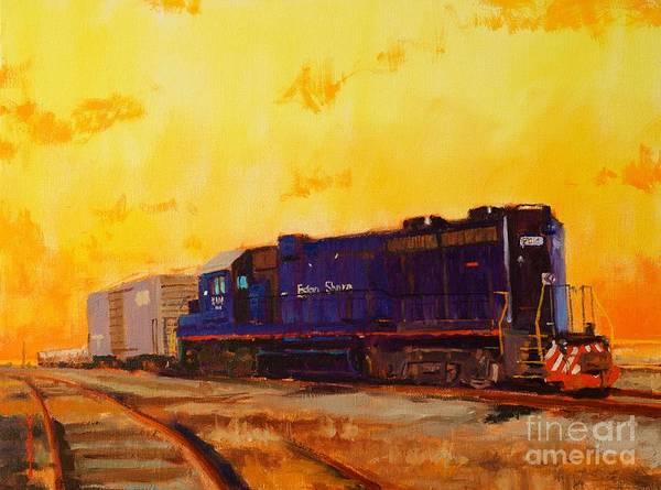 Diesel Trains Painting - Little Creek Orange Skies by Doug Clarke
