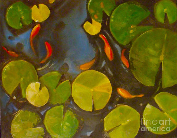Lilly Pad Painting - Little Fish Koi Goldfish Pond by Mary Hubley